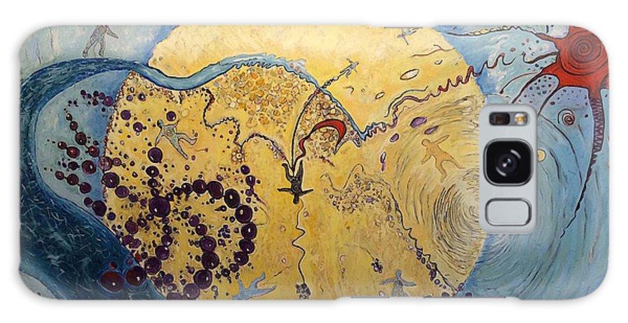 The Falling Man . Nikola Tesla. Fibonacci Spiral Galaxy S8 Case featuring the painting The Internal Tesla Machine by Michael Clague
