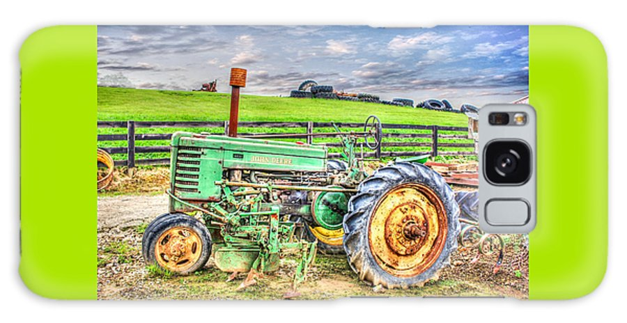 John Deere Tractor Country Classic Landscape Green Farm Tires Scenic Fence Galaxy S8 Case featuring the photograph The John Deere Tractor by Judy Baird