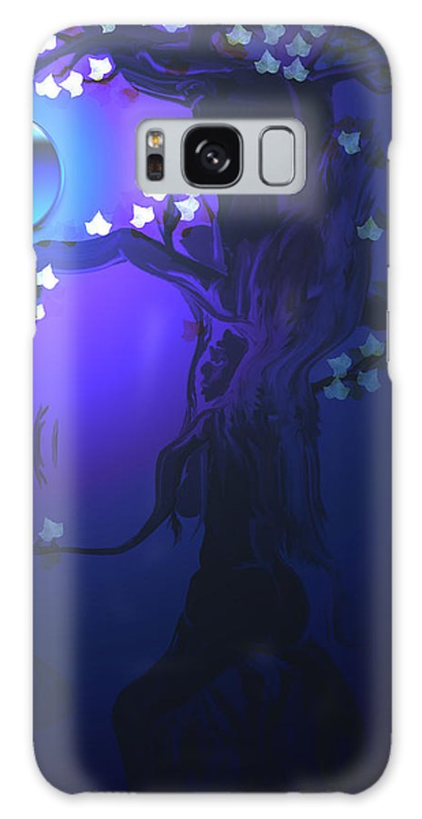 Tree Moon Spider Leaves Blue Feelings Lonely Drawing Dark Galaxy S8 Case featuring the digital art The Keeper by Andrea Lawrence