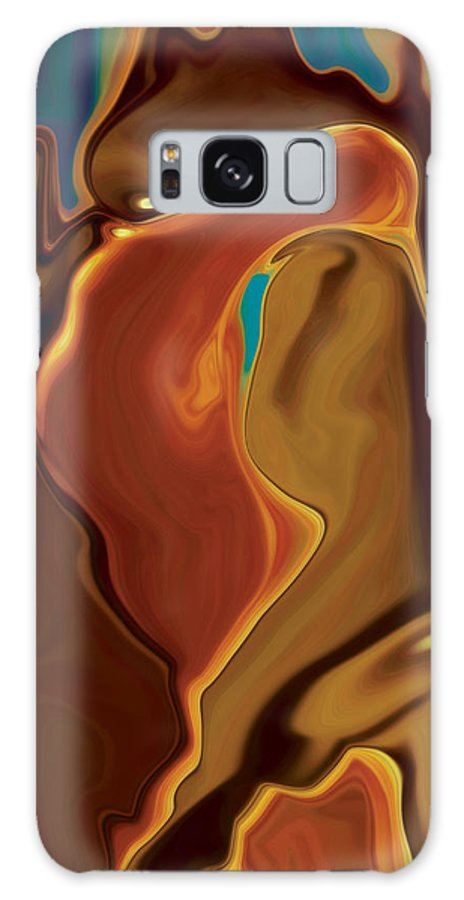 Abstract Art Blue Brown Digital Embrace Figurative Girl Green Kiss Love Man Night Passion Rabi_khan Galaxy S8 Case featuring the digital art The Kiss by Rabi Khan