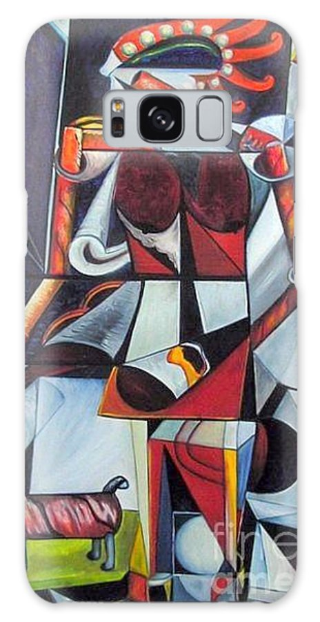 Cubism Galaxy Case featuring the painting The Lady And Her Dog by Pilar Martinez-Byrne