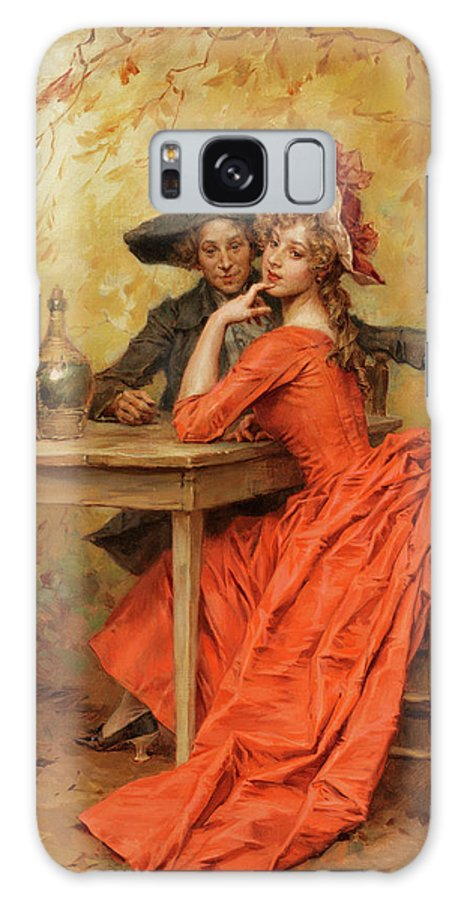Female Galaxy Case featuring the painting The Lady In Red by Frederick Hendrik Kaemmerer