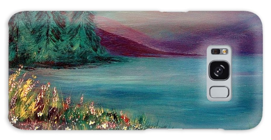 Landscape Galaxy S8 Case featuring the painting The Lake by Robin Monroe