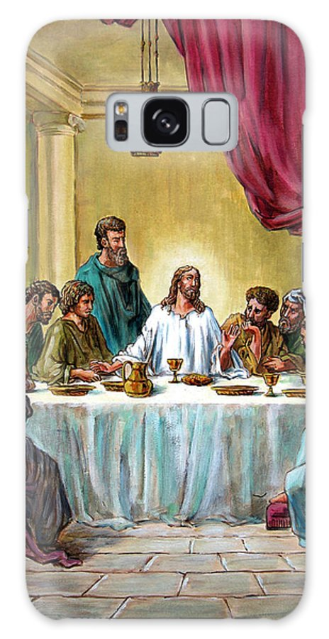 Jesus Galaxy Case featuring the painting The Last Supper by John Lautermilch