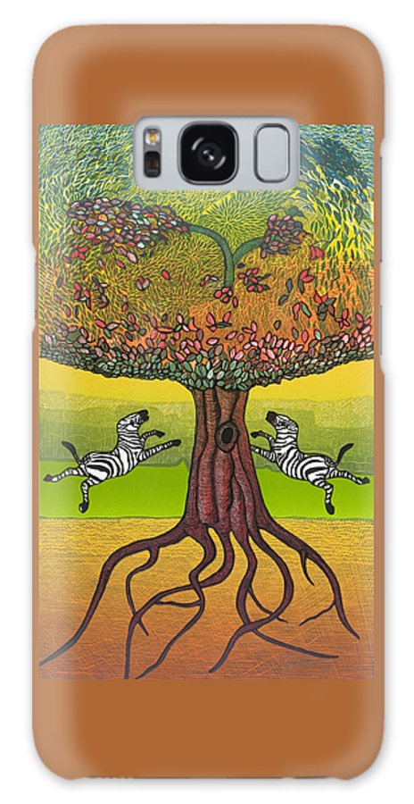 Landscape Galaxy S8 Case featuring the mixed media The Life-giving Tree. by Jarle Rosseland
