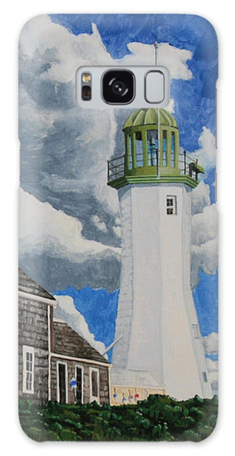 Lighthouse Galaxy S8 Case featuring the painting The Light Keeper's House by Dominic White