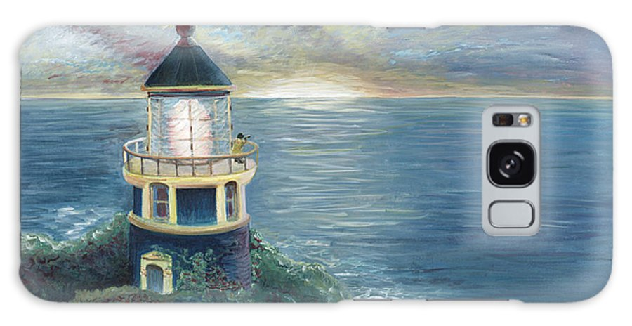 Lighthouse Galaxy S8 Case featuring the painting The Lighthouse by Nadine Rippelmeyer