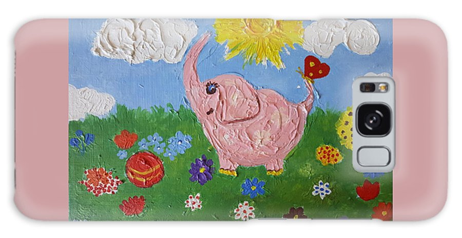 Elephant Galaxy S8 Case featuring the painting Little Pink Elephant by Rita Fetisov