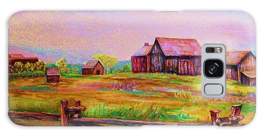 Ranches Galaxy Case featuring the painting The Log Fence by Carole Spandau