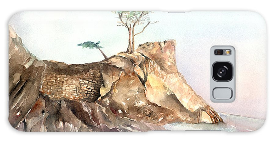 Tree Galaxy S8 Case featuring the painting The Lone Cypress-monterey Ca by Arline Wagner