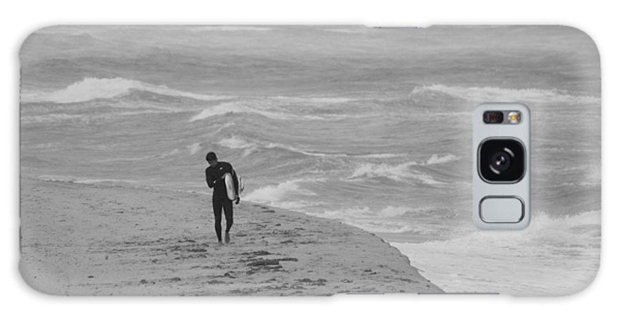 Black And White Galaxy S8 Case featuring the photograph The Lonely Surfer Dude by Rob Hans