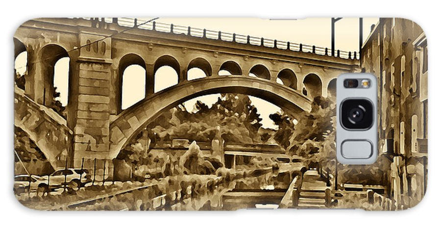 Manayunk Galaxy S8 Case featuring the photograph The Manayunk Canal In Sepia by Bill Cannon