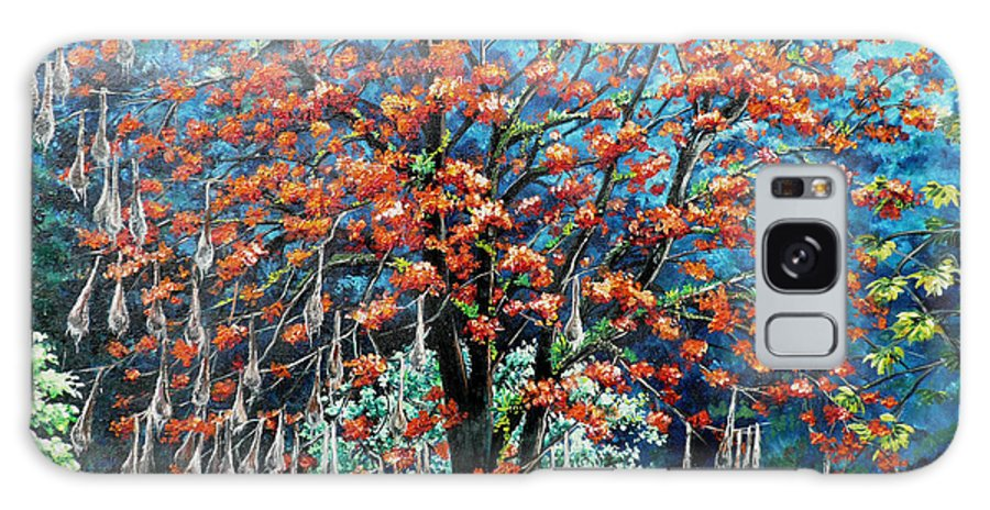 Tree Painting Mountain Painting Floral Painting Caribbean Painting Original Painting Of Immortelle Tree Painting  With Nesting Corn Oropendula Birds Painting In Northern Mountains Of Trinidad And Tobago Painting Galaxy S8 Case featuring the painting The Mighty Immortelle by Karin Dawn Kelshall- Best