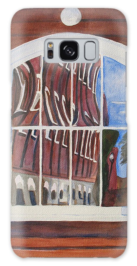 Window Galaxy S8 Case featuring the painting The Mill House Reflects Upon Itself by Jenny Armitage