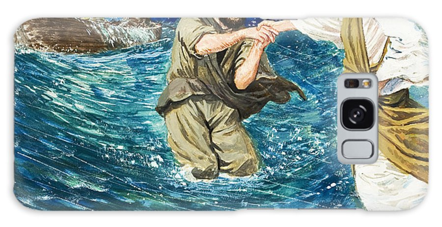 Jesus Christ; Miracle; Saint Peter; St; Lake; Fisherman; Fishing Boat; Storm; Wave; Sinking; Helping; Belief; Believing; Followers Galaxy Case featuring the painting The Miracles Of Jesus Walking On Water by Clive Uptton