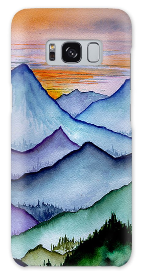 Landscape Galaxy S8 Case featuring the painting The Misty Mountains by Brenda Owen