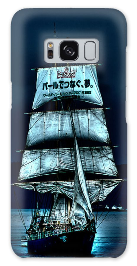The Moonlit Kaisei Brigantine Tall Ship Galaxy S8 Case featuring the photograph The Moonlit Kaisei Brigantine Tall Ship by David Patterson