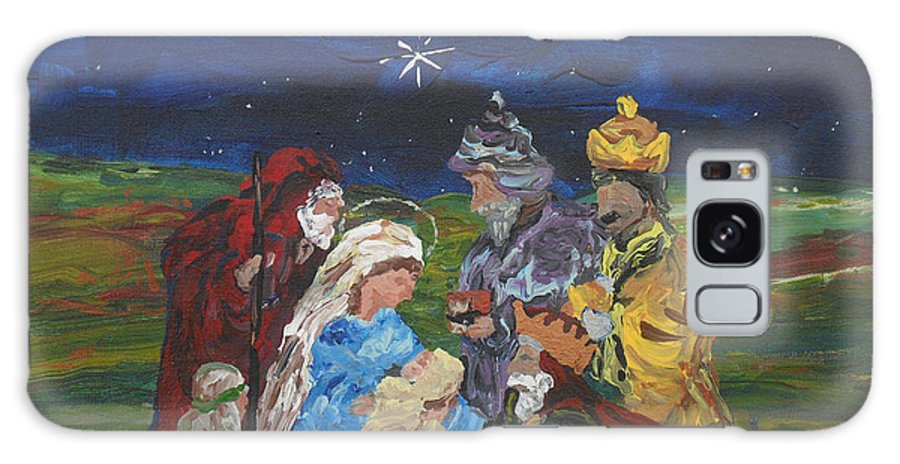 Nativity Galaxy Case featuring the painting The Nativity by Reina Resto