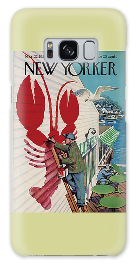 Food Galaxy S8 Case featuring the photograph The New Yorker Cover - March 22nd, 1958 by Arthur Getz