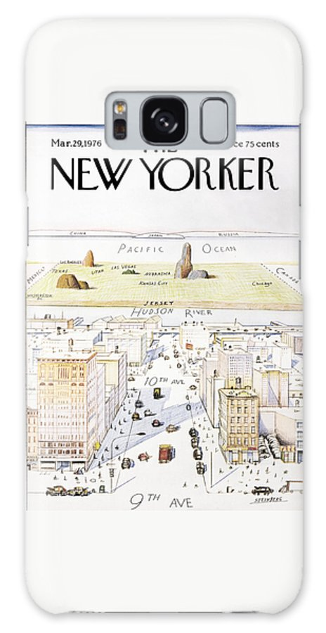 #condenastnewyorkercover Galaxy S8 Case featuring the painting New Yorker March 29, 1976 by Saul Steinberg