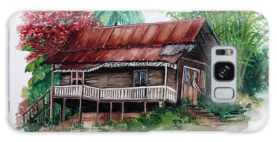 Tropical Painting Poincianna Painting Caribbean Painting Old House Painting Cocoa House Painting Trinidad And Tobago Painting  Tropical Painting Flamboyant Painting Poinciana Red Greeting Card Painting Galaxy S8 Case featuring the painting The Old Cocoa House by Karin Dawn Kelshall- Best