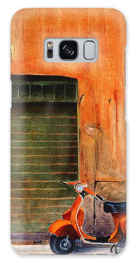 Vespa Galaxy S8 Case featuring the painting The Orange Vespa by Karen Fleschler