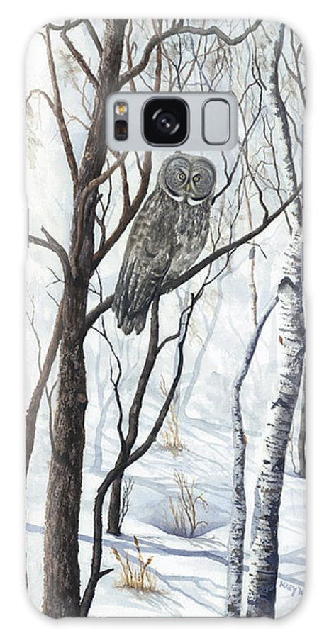 Owl Galaxy S8 Case featuring the painting The Owl by Mary Tuomi