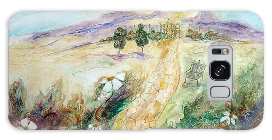 A Landscape Of Overgrown Garden And Path Beyond To A Heavenly Vista Galaxy S8 Case featuring the painting The Path Of Untold Riches by Sarah Wharton White