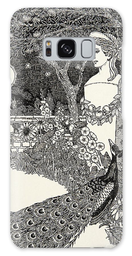 Peacock Galaxy S8 Case featuring the drawing The Peacock's Complaint by Percy J Billinghurst