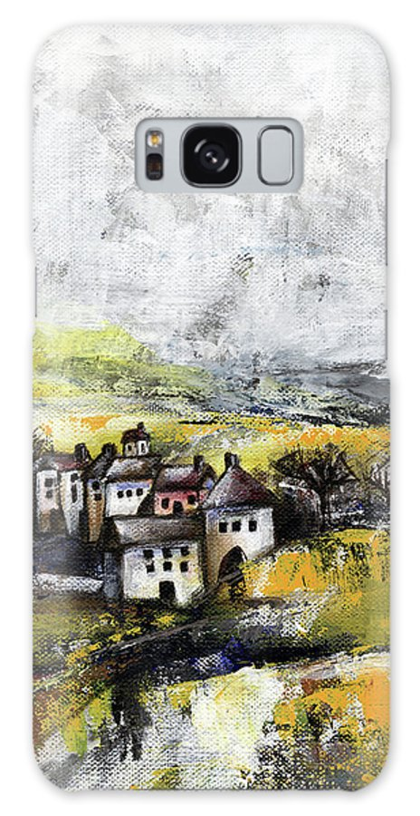 Landscape Galaxy S8 Case featuring the painting The Pink House by Aniko Hencz