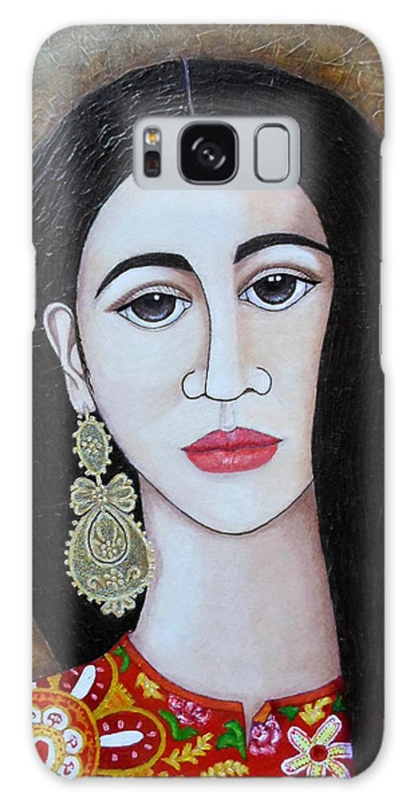 Woman Galaxy Case featuring the painting The Portuguese Earring 2 by Madalena Lobao-Tello