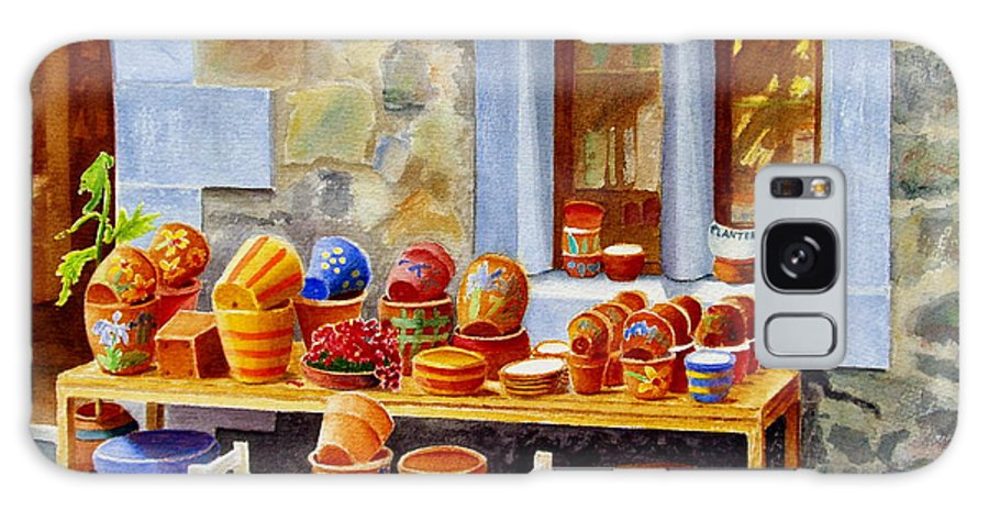 Shop Galaxy Case featuring the painting The Pottery Shop by Karen Fleschler