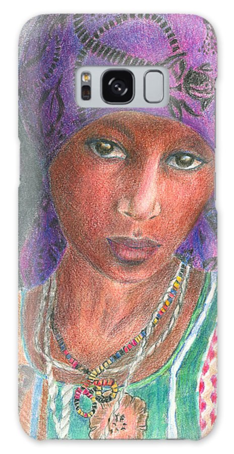 Purple Galaxy Case featuring the drawing The Purple Scarf by Arline Wagner