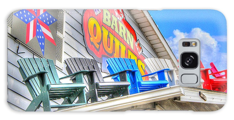 Quilt Barn Colorful Chairs Roof Art Berlin Amish Ohio Galaxy S8 Case featuring the photograph The Quilt Barn by Judy Baird