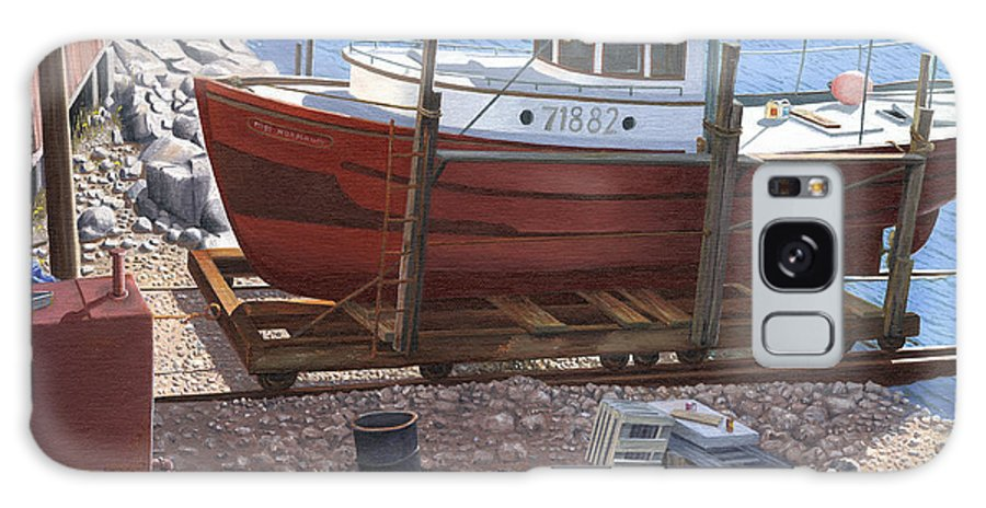 Fishing Boat Galaxy Case featuring the painting The Red Troller by Gary Giacomelli