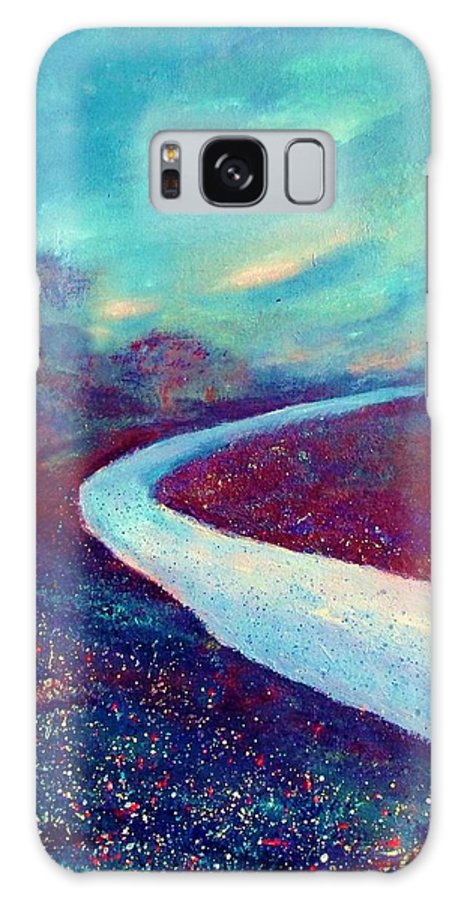 Landscape Galaxy S8 Case featuring the painting The Road - New Beginnings by Robin Monroe