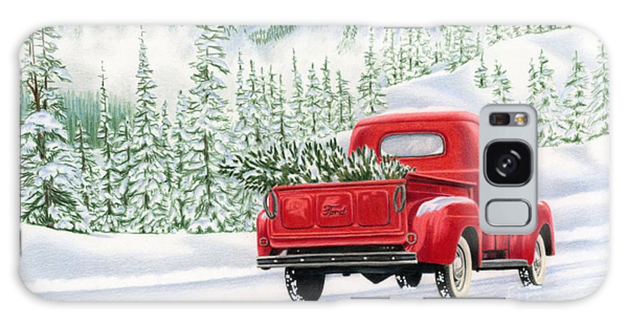 Christmas Truck Galaxy Case featuring the painting The Road Home by Sarah Batalka