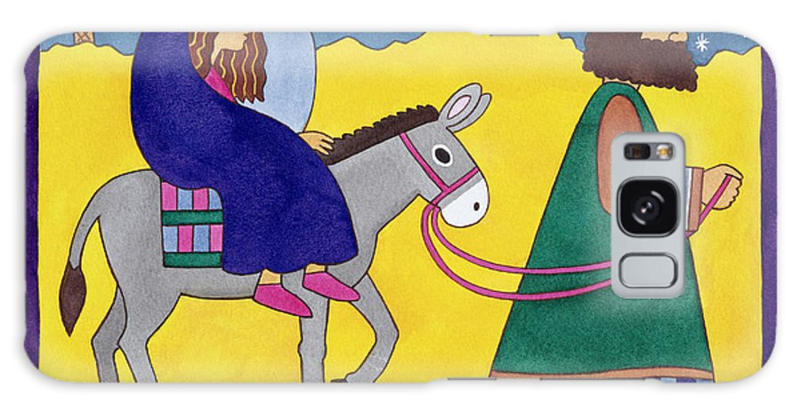 Donkey; Cloak; Palm Tree; Desert; Leading; Bethlehem Galaxy S8 Case featuring the painting The Road To Bethlehem by Cathy Baxter