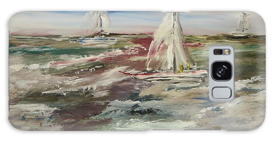 Seascape Galaxy S8 Case featuring the painting The Sailboat Race by Edward Wolverton