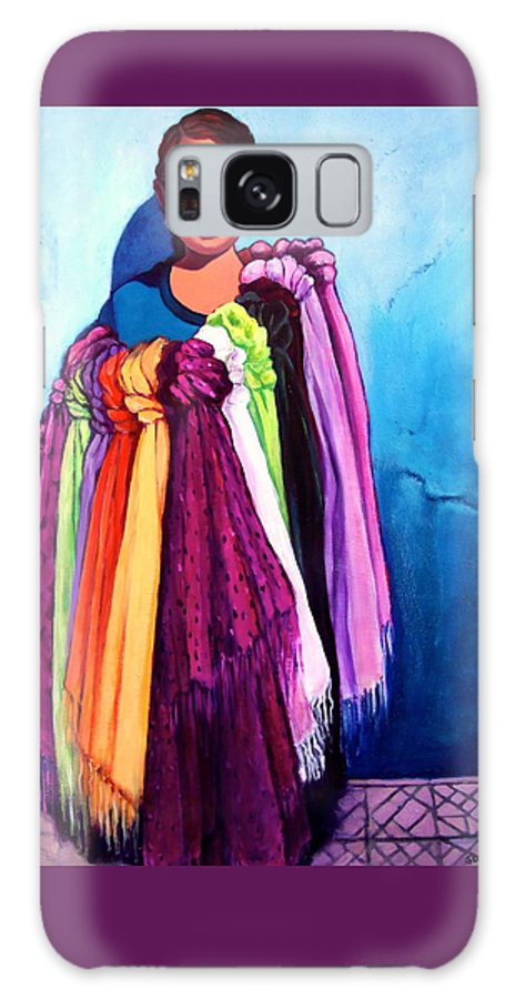 Portrait Galaxy S8 Case featuring the painting The Scarf Seller by Susan Santiago