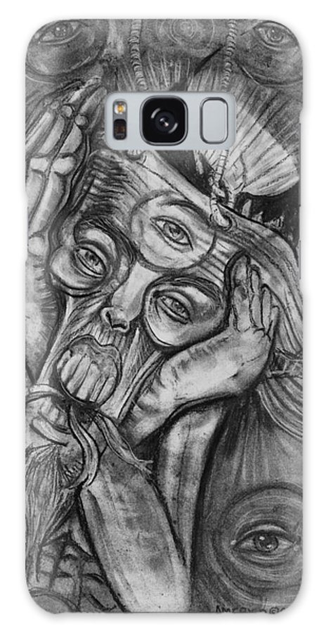The Scream Galaxy S8 Case featuring the drawing The Scream by Americo Salazar