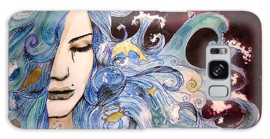Sea Dolphin Tears Cry Boat Wave Galaxy Case featuring the drawing The Sea Inside by Freja Friborg