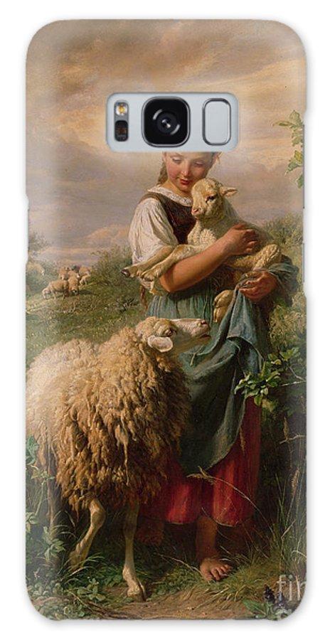 Shepherdess Galaxy S8 Case featuring the painting The Shepherdess by Johann Baptist Hofner
