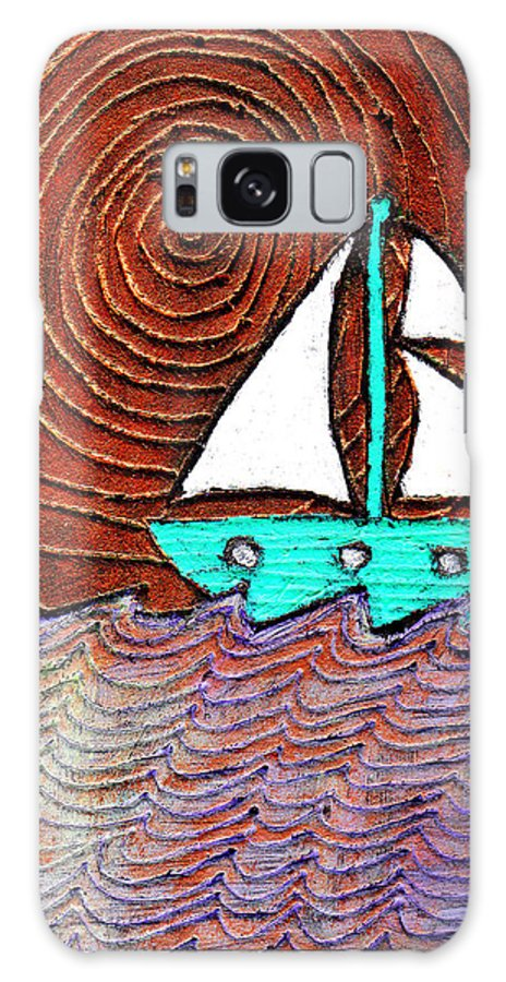 Sailing Galaxy S8 Case featuring the painting The Sky Was Bronze That Night by Wayne Potrafka