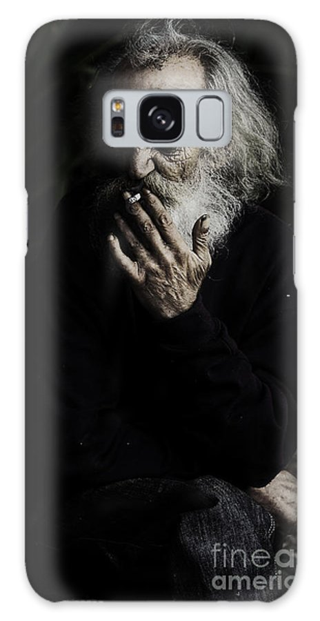 Homeless Male Smoking Smoker Aged Galaxy S8 Case featuring the photograph The Smoker by Sheila Smart Fine Art Photography