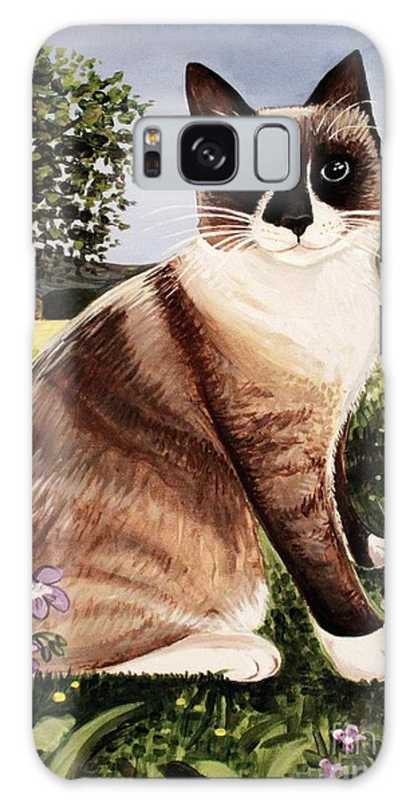 Pet Portrait Galaxy S8 Case featuring the painting The Snowshoe Cat by Elizabeth Robinette Tyndall