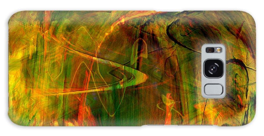 Abstract Digital Abstract Digital Painting Digital Art Design Dark Art Vibrant Art Yellow Galaxy S8 Case featuring the digital art The Spirit Glows by Linda Sannuti
