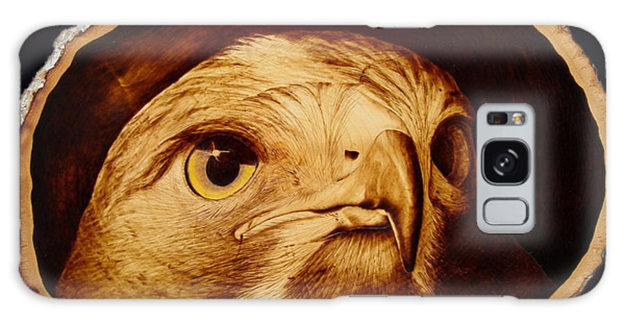 Woodburning; Pyrogrography; Sepia; Hawk; Bird Of Prey; Nature; Bird; Beak; Talon Galaxy S8 Case featuring the pyrography The Spotter by Jo Schwartz