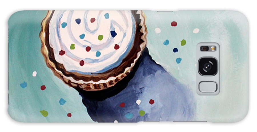 Cupcake Galaxy S8 Case featuring the painting The Sprinkled Cupcake by Elizabeth Robinette Tyndall