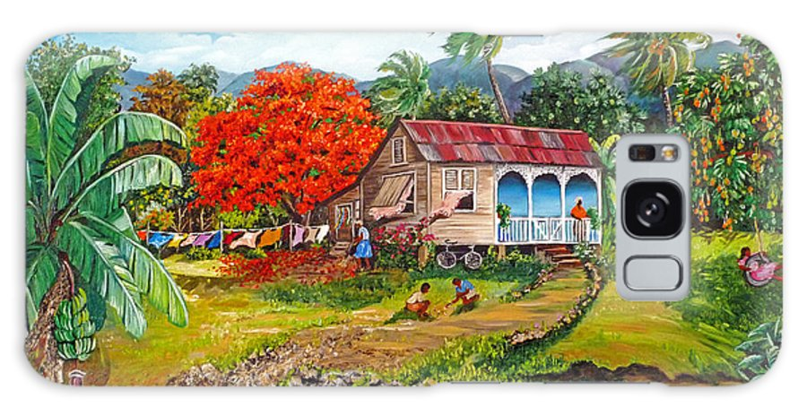 Tropical Scene Caribbean Scene Galaxy Case featuring the painting The Sweet Life by Karin Dawn Kelshall- Best